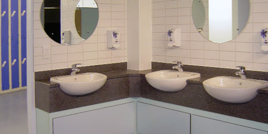 Sinks in locker room at Avon & Somerset's Contact House