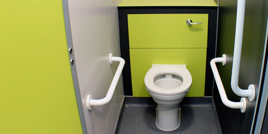 Lime Green walled toilet cubicle