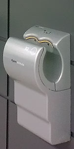 A wall mounted Dyson Airblade hand drier